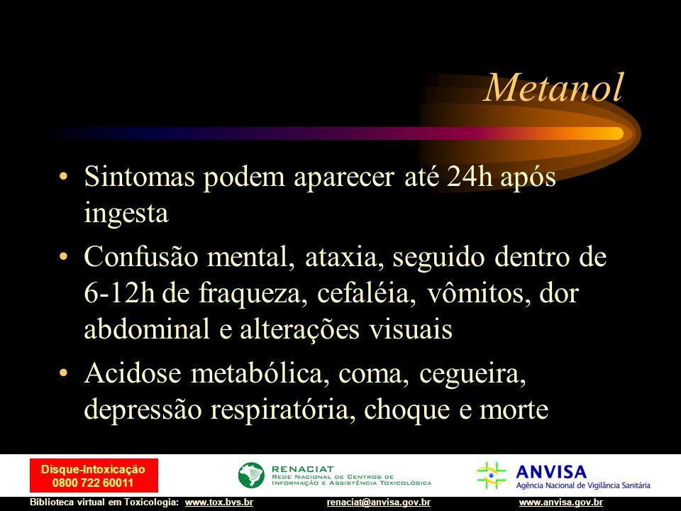 Metanol Sintomas podem aparecer até 24h após ingesta
