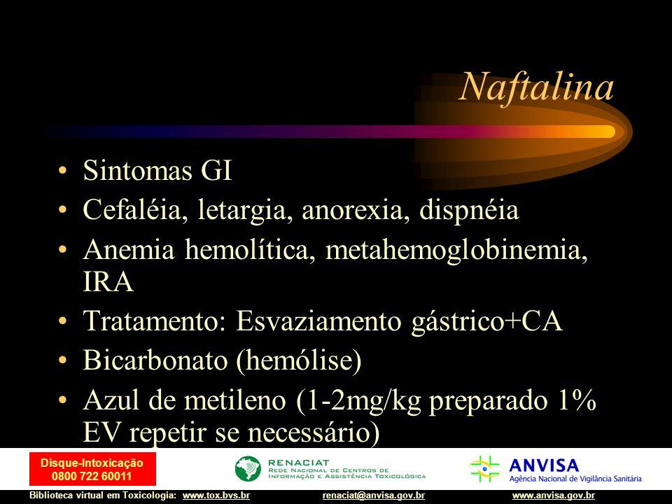Naftalina Sintomas GI Cefaléia, letargia, anorexia, dispnéia
