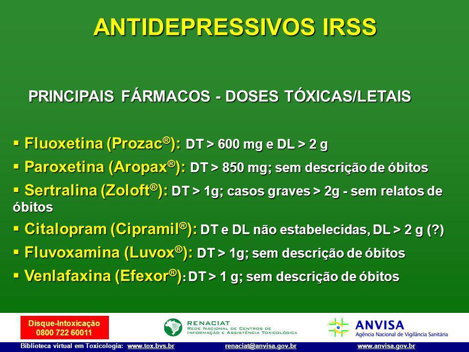 ANTIDEPRESSIVOS IRSS PRINCIPAIS FÁRMACOS - DOSES TÓXICAS/LETAIS