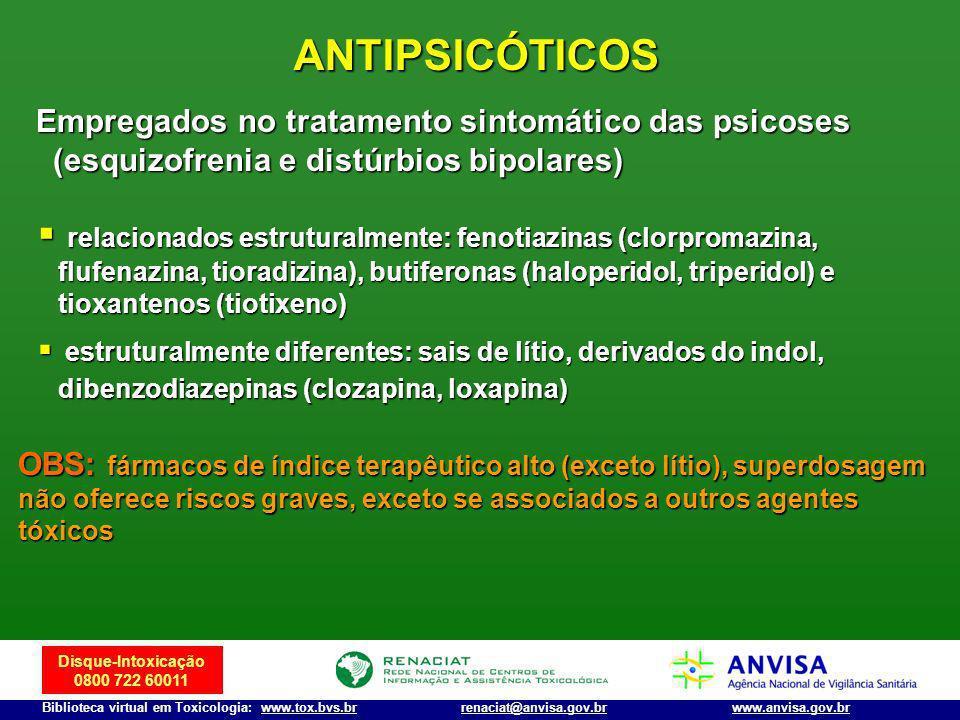 ANTIPSICÓTICOS Empregados no tratamento sintomático das psicoses