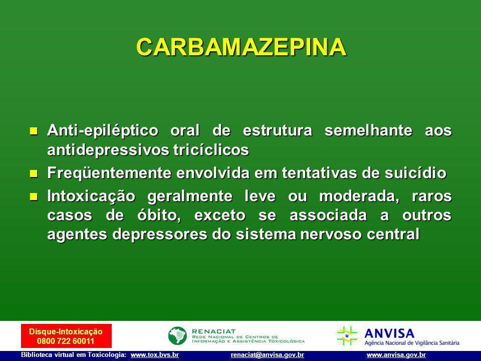 CARBAMAZEPINA Anti-epiléptico oral de estrutura semelhante aos antidepressivos tricíclicos. Freqüentemente envolvida em tentativas de suicídio.