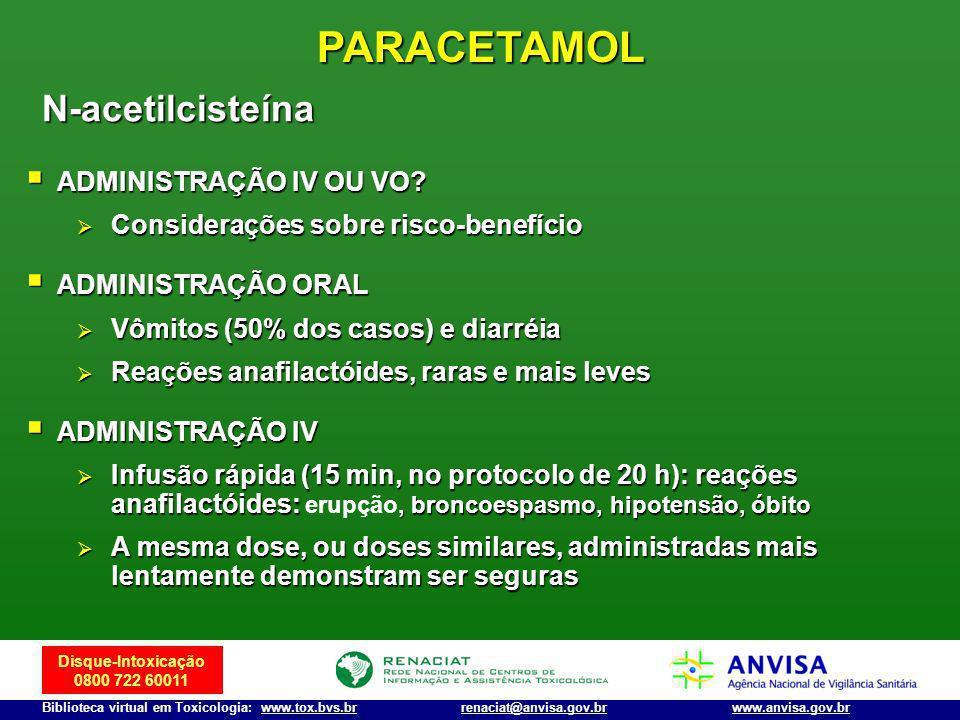PARACETAMOL N-acetilcisteína ADMINISTRAÇÃO IV OU VO