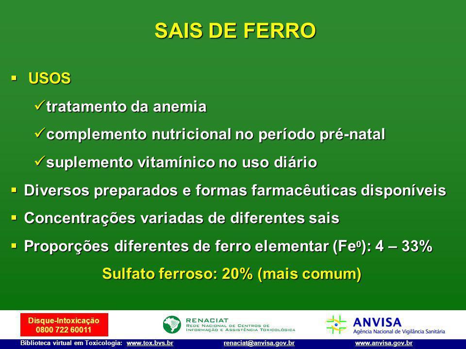 Sulfato ferroso: 20% (mais comum)