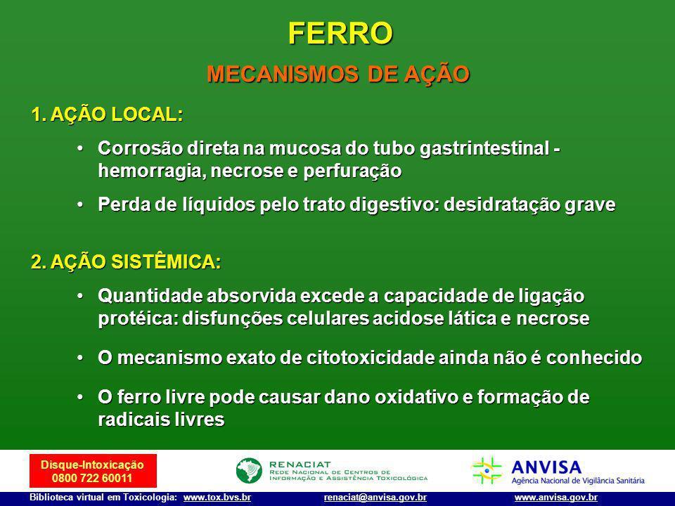 FERRO MECANISMOS DE AÇÃO AÇÃO LOCAL: