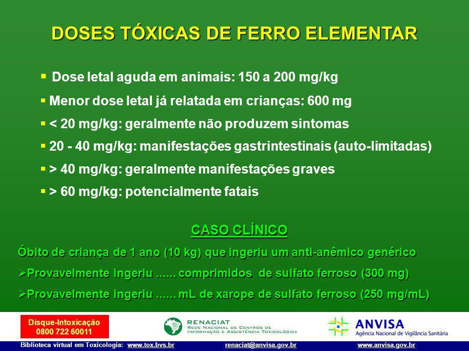 DOSES TÓXICAS DE FERRO ELEMENTAR