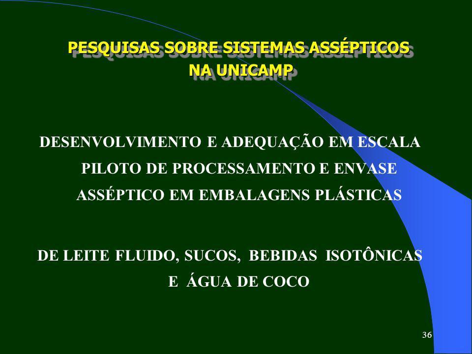 PESQUISAS SOBRE SISTEMAS ASSÉPTICOS NA UNICAMP