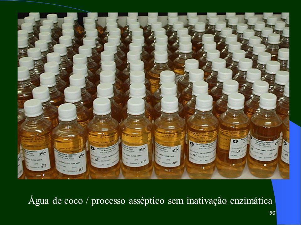Água de coco / processo asséptico sem inativação enzimática