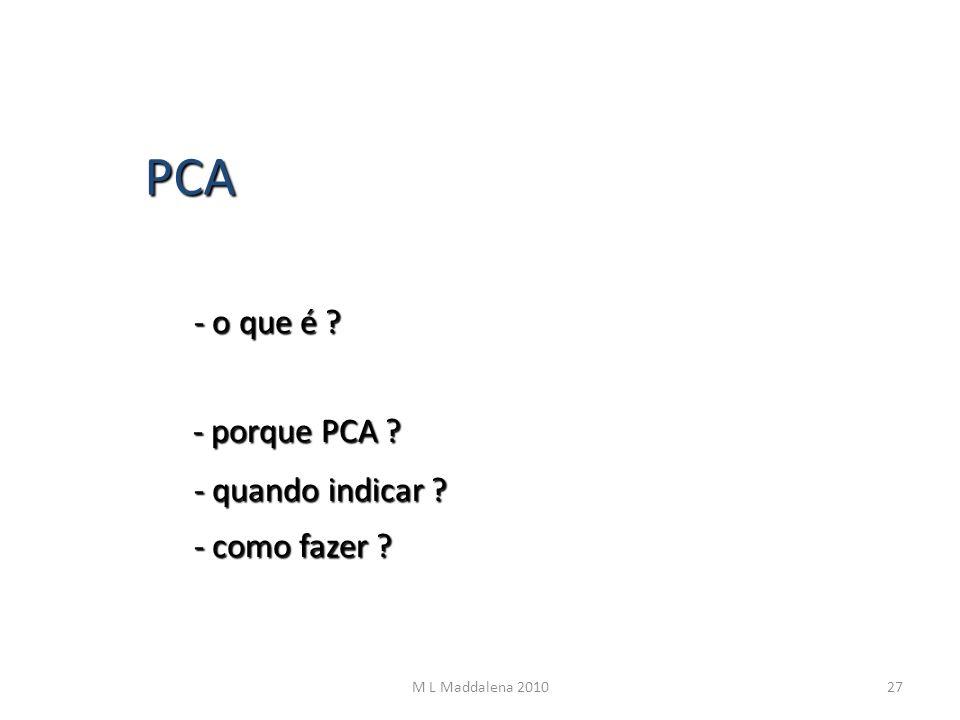 PCA - o que é - porque PCA - quando indicar - como fazer