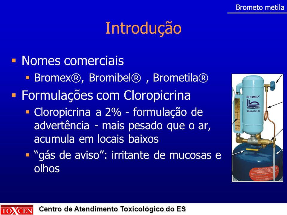 Introdução Nomes comerciais Formulações com Cloropicrina