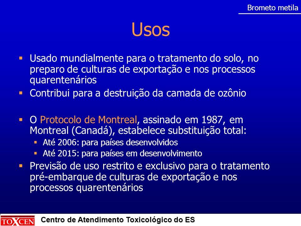 Brometo metilaUsos. Usado mundialmente para o tratamento do solo, no preparo de culturas de exportação e nos processos quarentenários.
