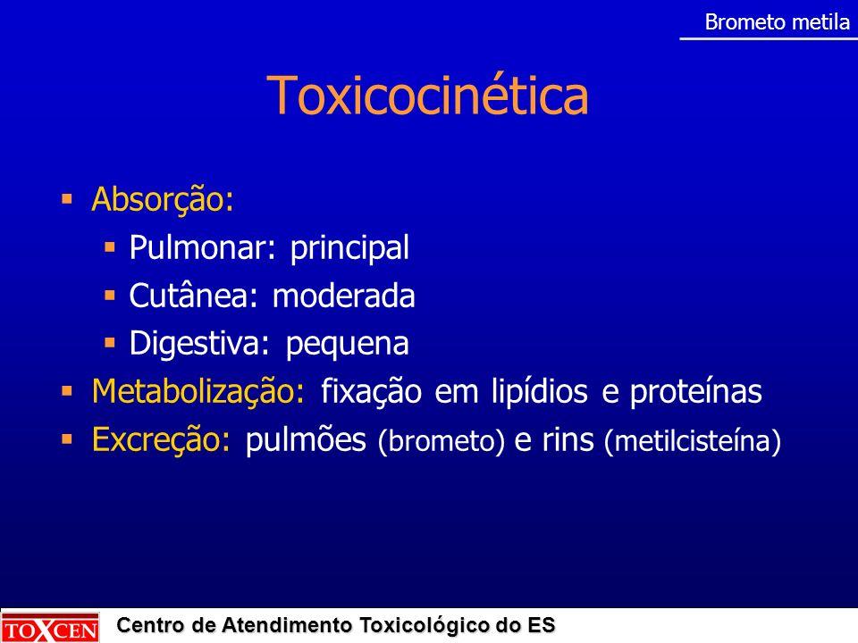 Toxicocinética Absorção: Pulmonar: principal Cutânea: moderada