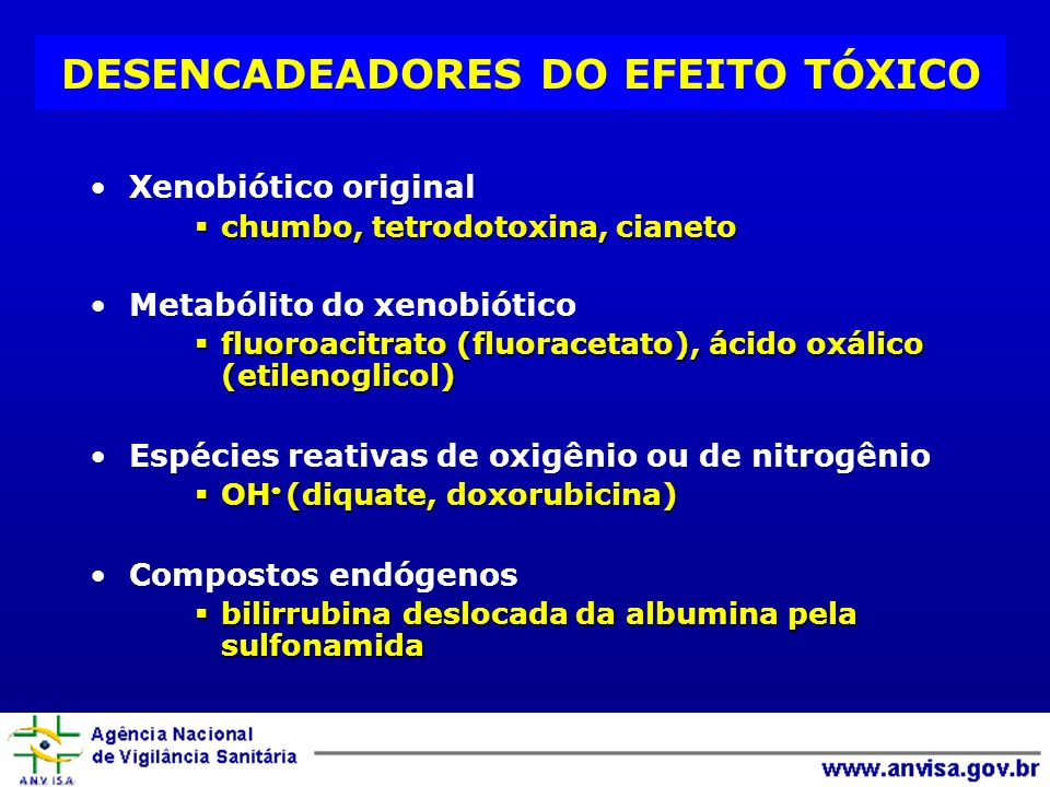 DESENCADEADORES DO EFEITO TÓXICO