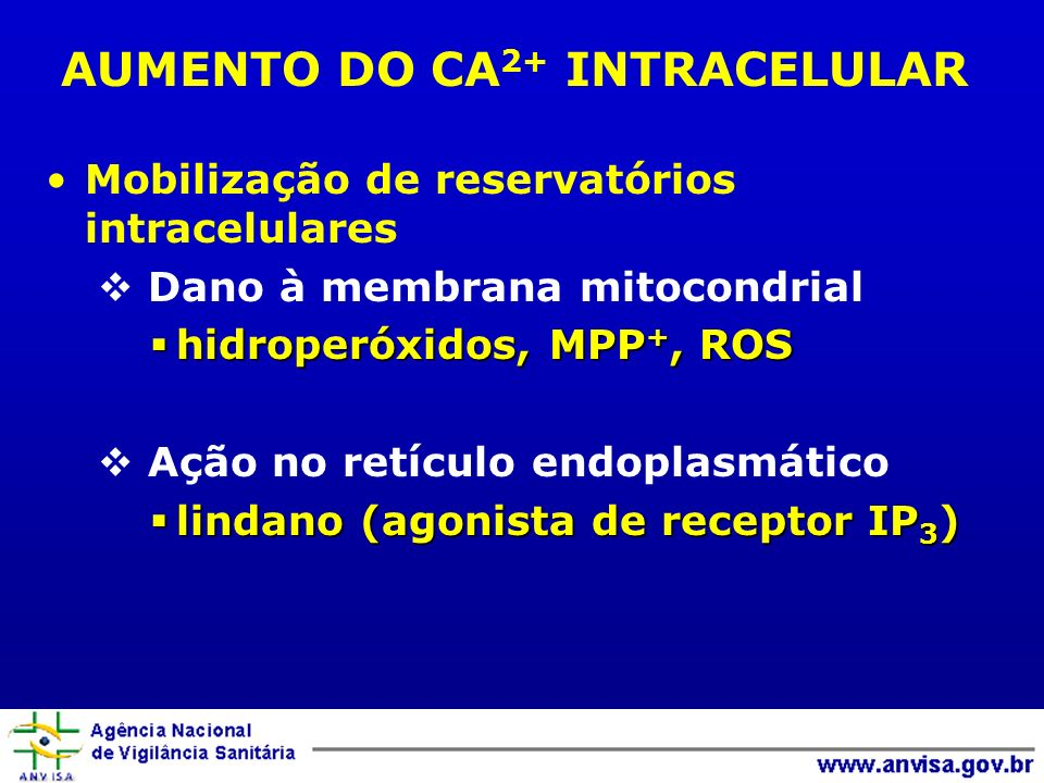 AUMENTO DO CA2+ INTRACELULAR