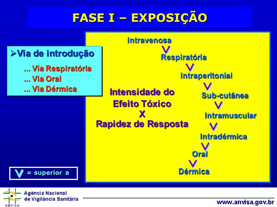 FASE I – EXPOSIÇÃO Via de introdução Intensidade do Efeito Tóxico X
