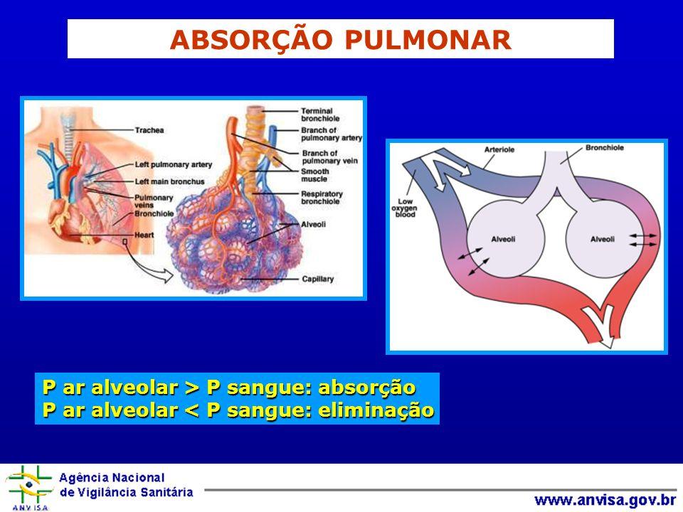 ABSORÇÃO PULMONAR P ar alveolar > P sangue: absorção