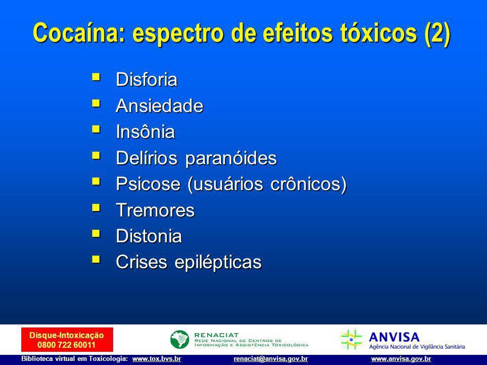 Cocaína: espectro de efeitos tóxicos (2)