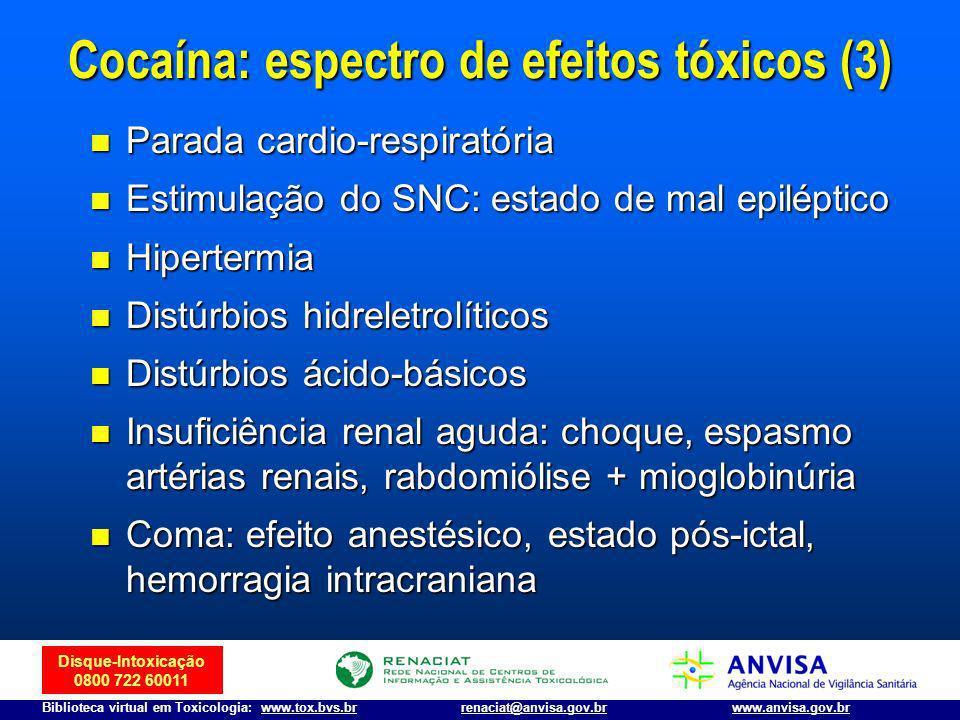 Cocaína: espectro de efeitos tóxicos (3)