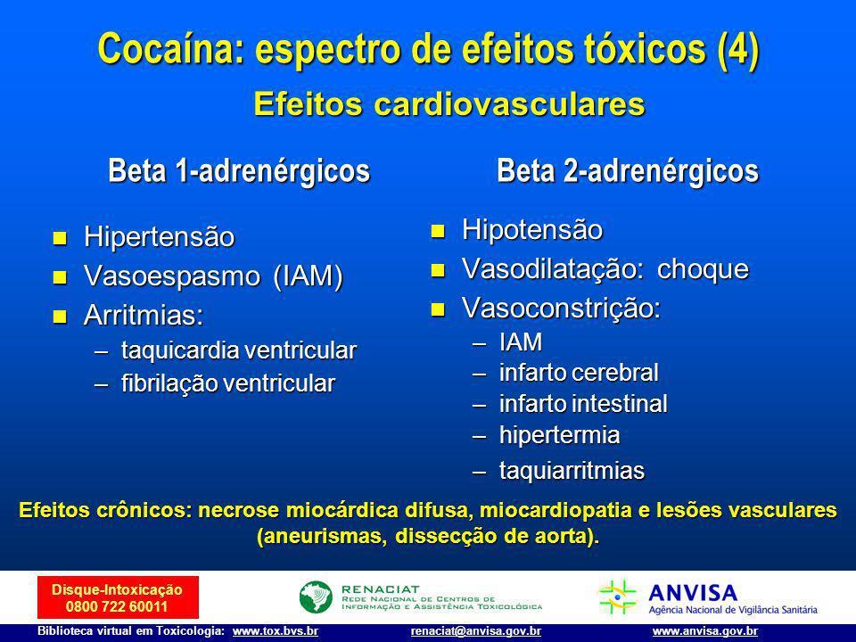 Cocaína: espectro de efeitos tóxicos (4) Efeitos cardiovasculares