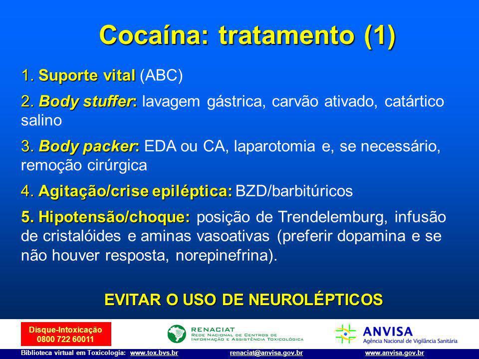 Cocaína: tratamento (1) EVITAR O USO DE NEUROLÉPTICOS