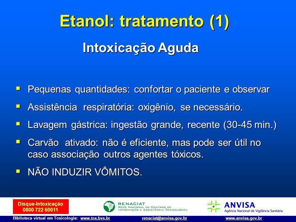 Etanol: tratamento (1) Intoxicação Aguda