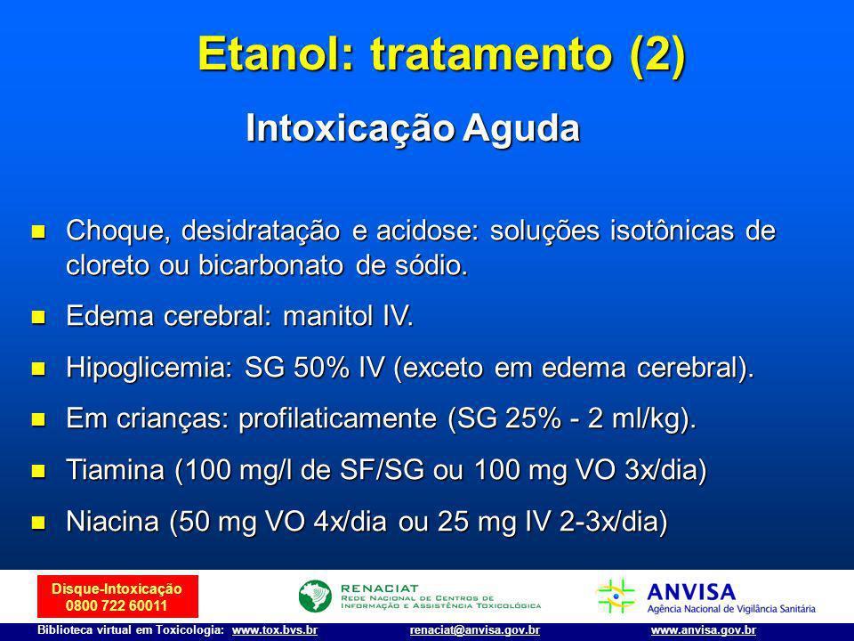 Etanol: tratamento (2) Intoxicação Aguda