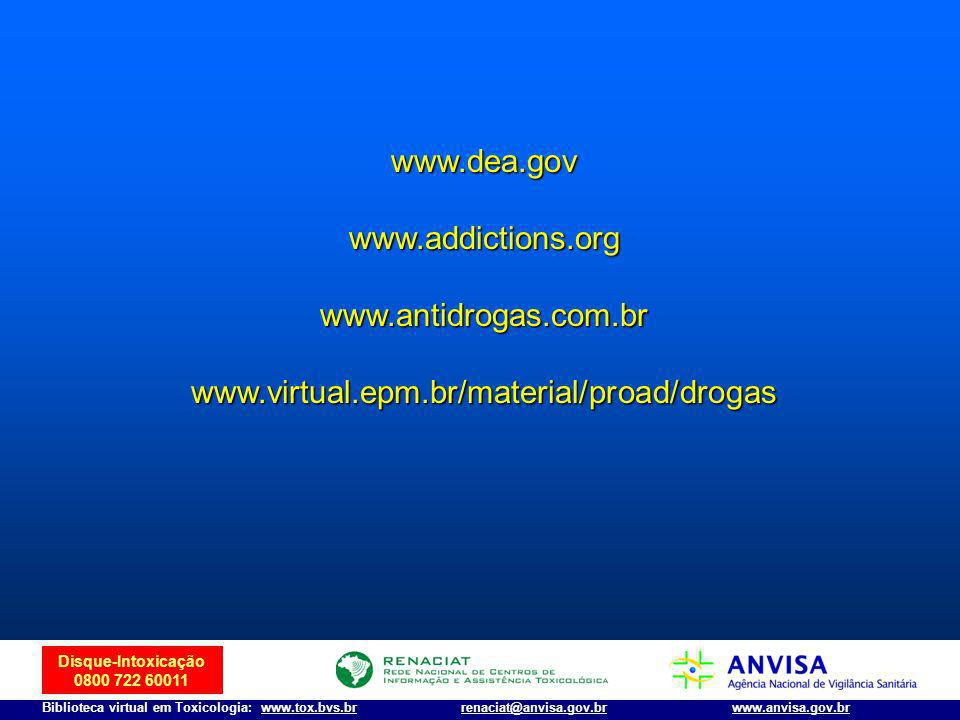 www.dea.gov www.addictions.org www.antidrogas.com.br www.virtual.epm.br/material/proad/drogas