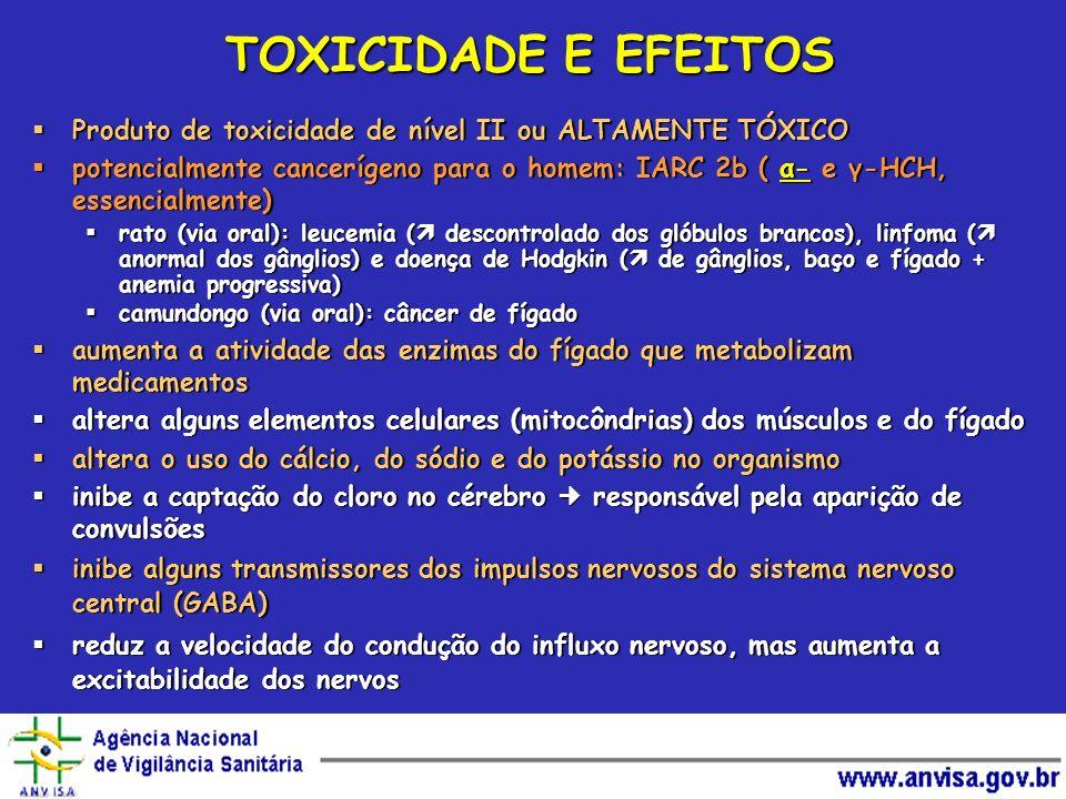 TOXICIDADE E EFEITOS Produto de toxicidade de nível II ou ALTAMENTE TÓXICO.