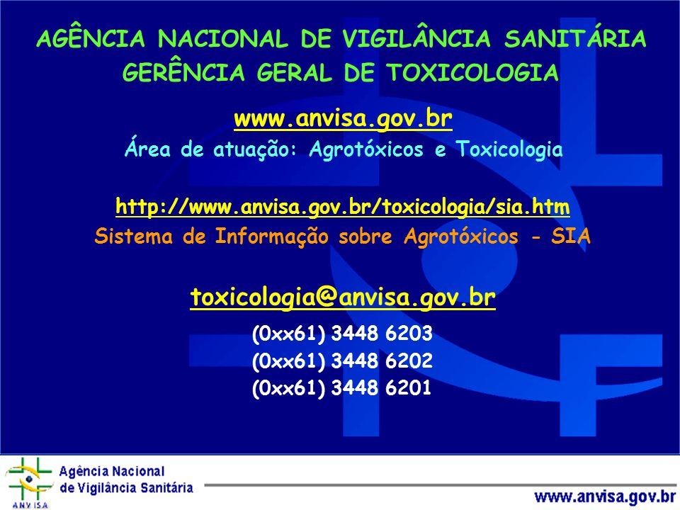 www.anvisa.gov.br toxicologia@anvisa.gov.br