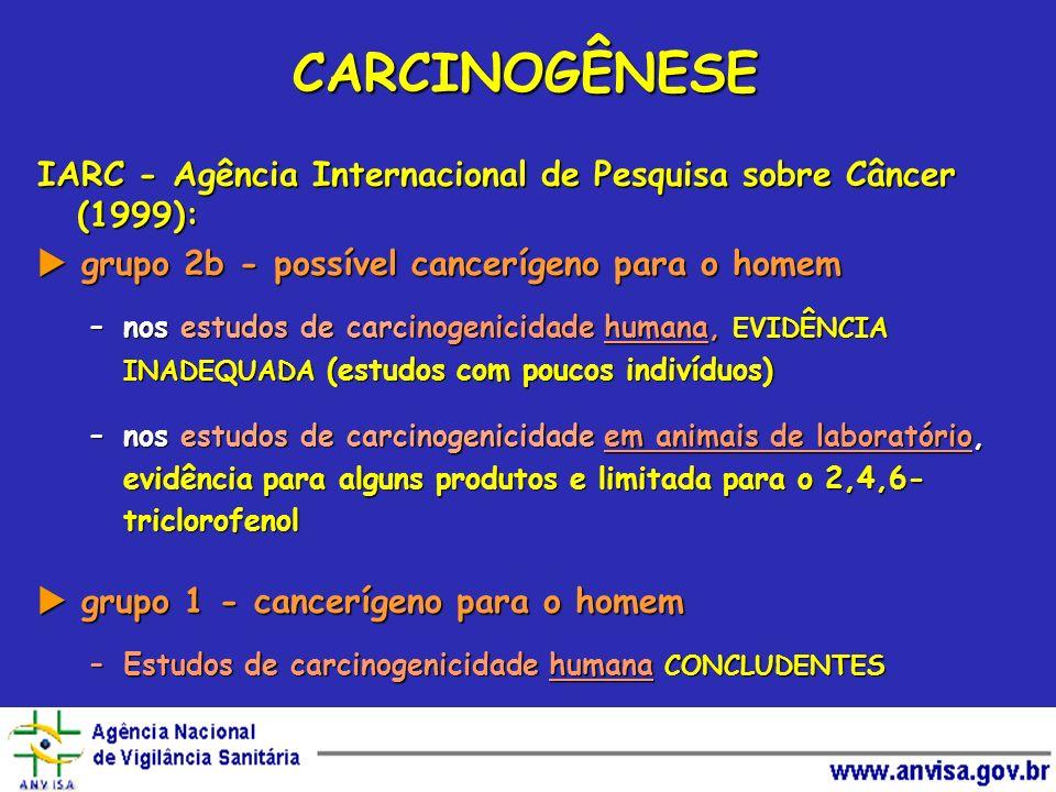 CARCINOGÊNESE IARC - Agência Internacional de Pesquisa sobre Câncer (1999):  grupo 2b - possível cancerígeno para o homem.