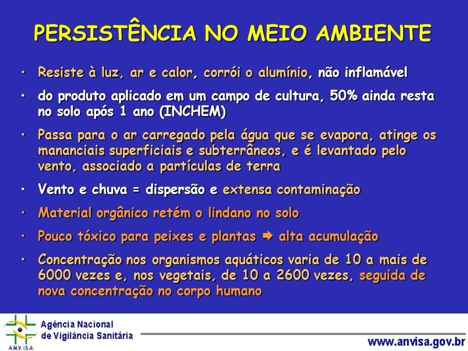 PERSISTÊNCIA NO MEIO AMBIENTE