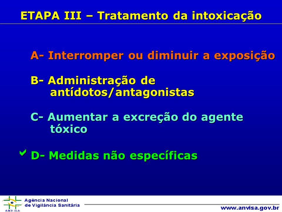 ETAPA III – Tratamento da intoxicação
