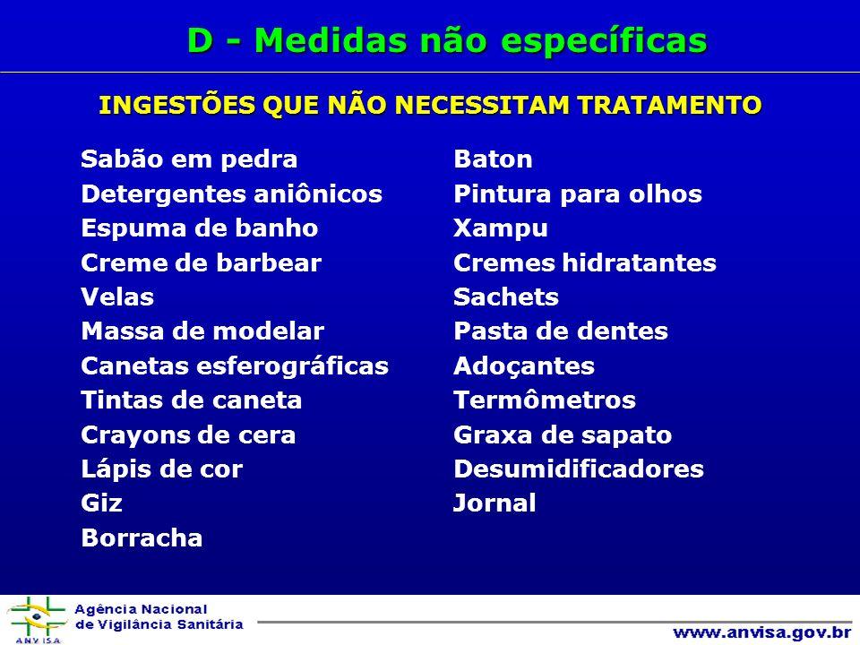 D - Medidas não específicas INGESTÕES QUE NÃO NECESSITAM TRATAMENTO