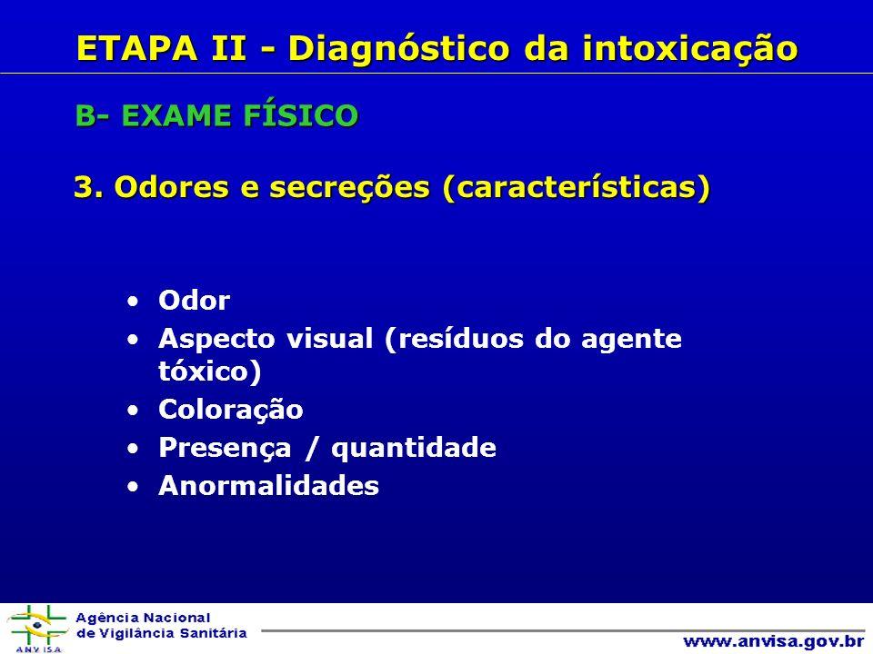 ETAPA II - Diagnóstico da intoxicação