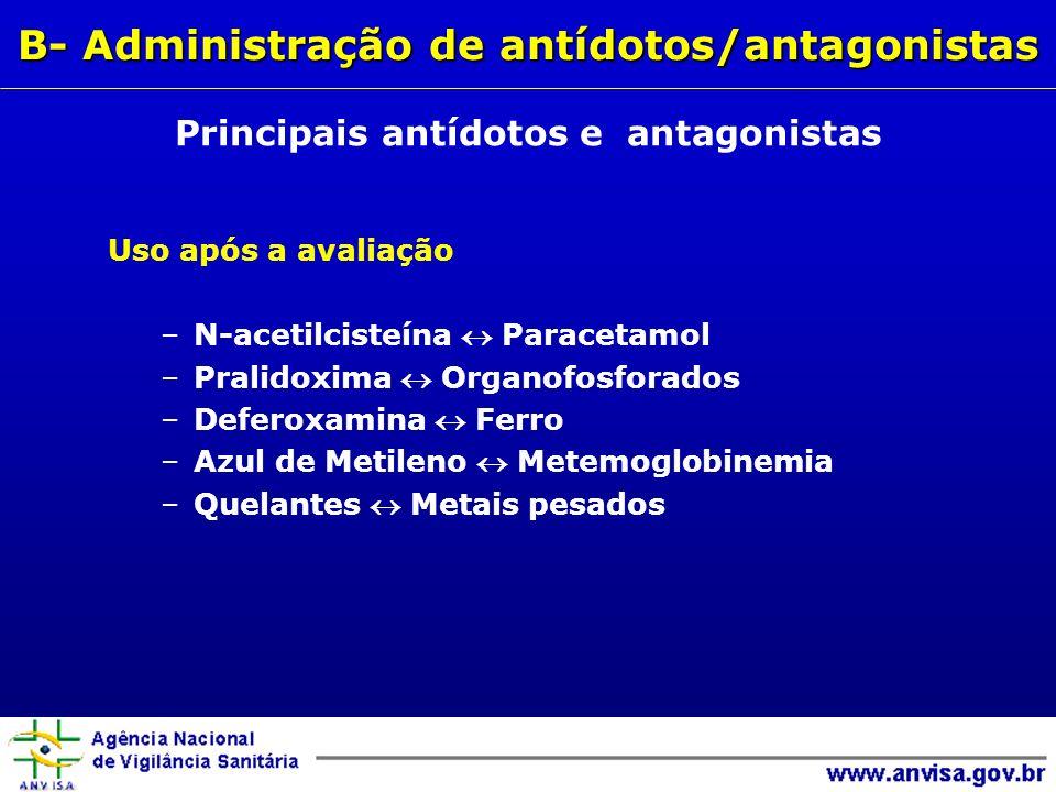 B- Administração de antídotos/antagonistas