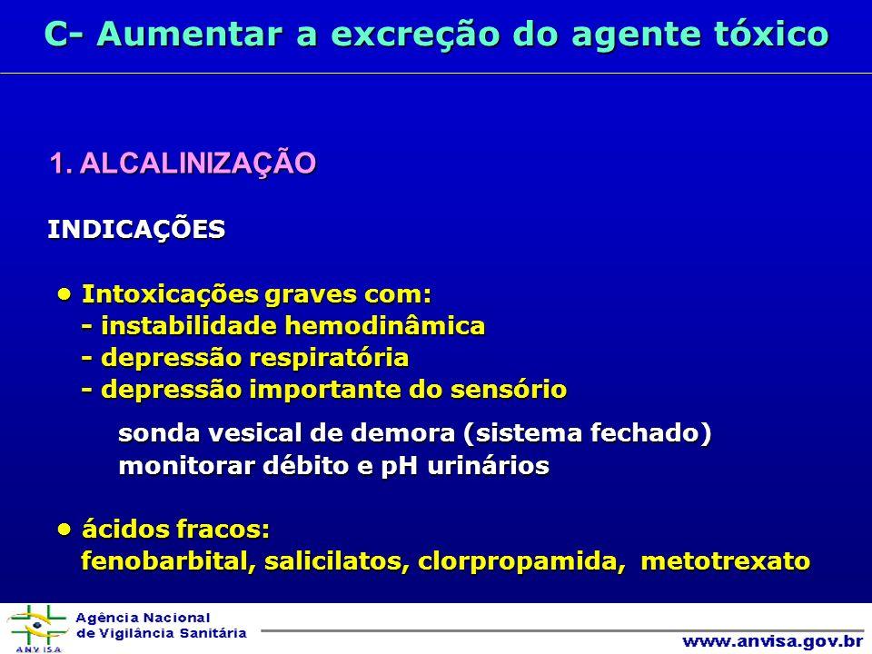 C- Aumentar a excreção do agente tóxico