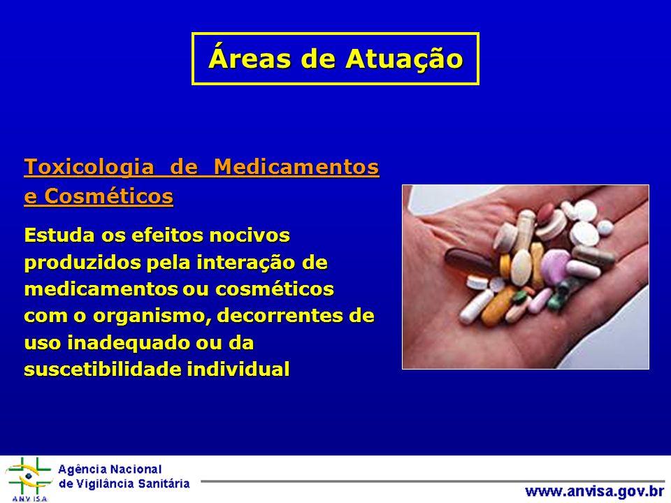 Áreas de Atuação Toxicologia de Medicamentos e Cosméticos
