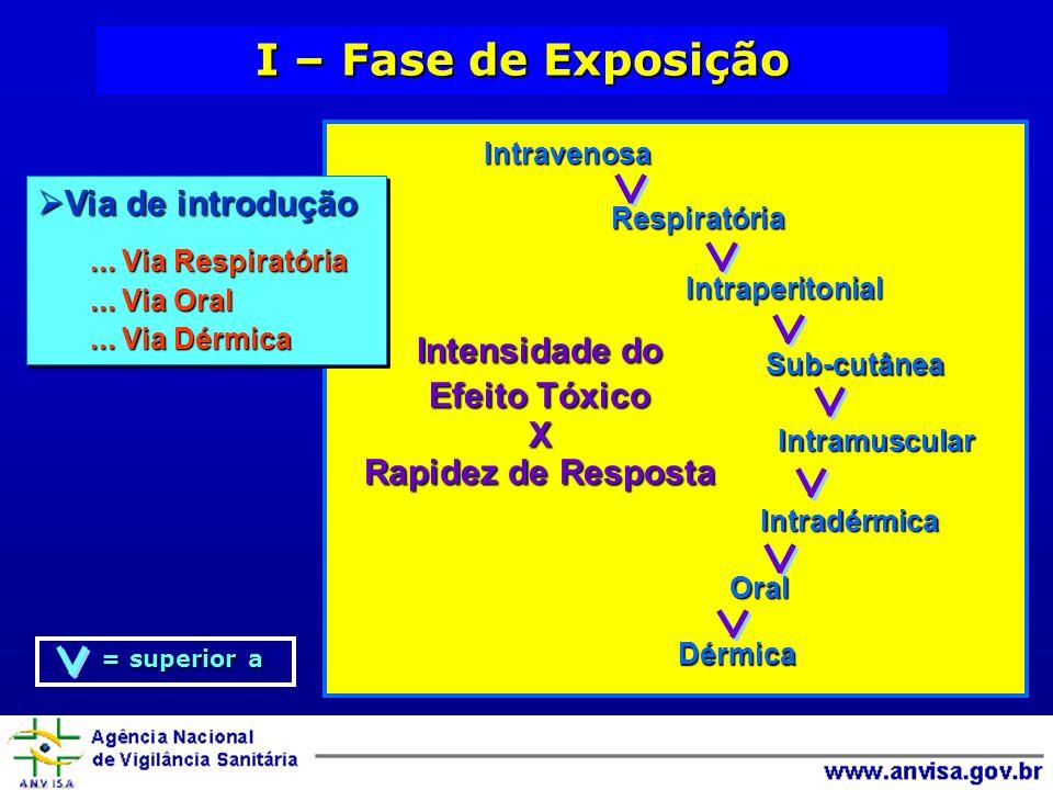 I – Fase de Exposição Via de introdução Intensidade do Efeito Tóxico X