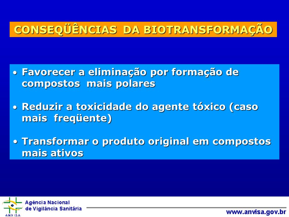 CONSEQÜÊNCIAS DA BIOTRANSFORMAÇÃO