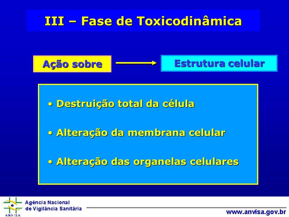 III – Fase de Toxicodinâmica