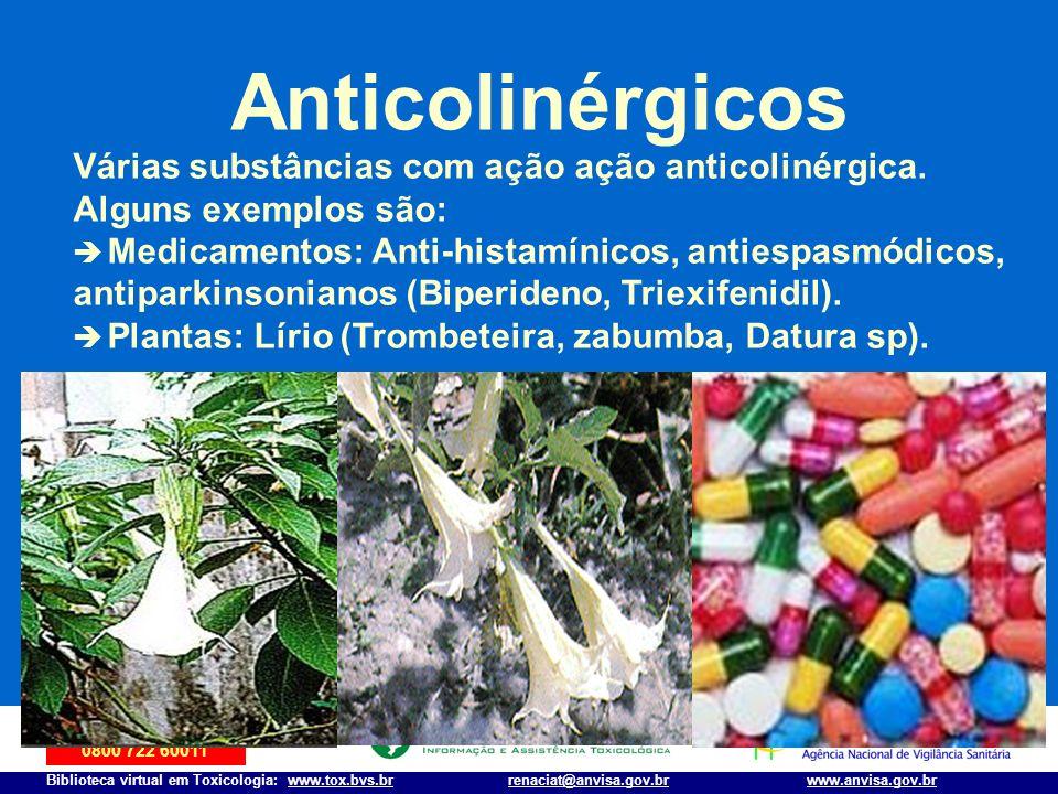 Anticolinérgicos Várias substâncias com ação ação anticolinérgica.