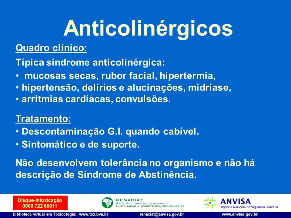 Anticolinérgicos Quadro clínico: Típica síndrome anticolinérgica: