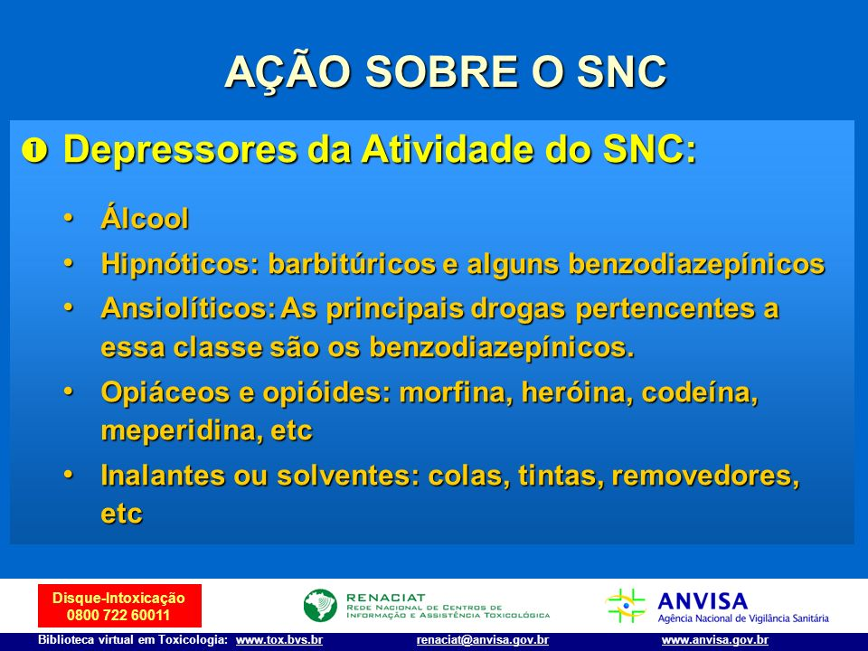 AÇÃO SOBRE O SNC Depressores da Atividade do SNC: Álcool