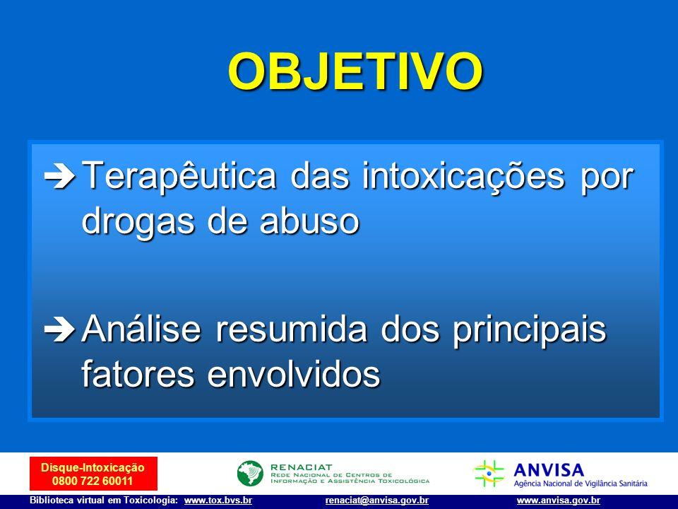 OBJETIVO Terapêutica das intoxicações por drogas de abuso