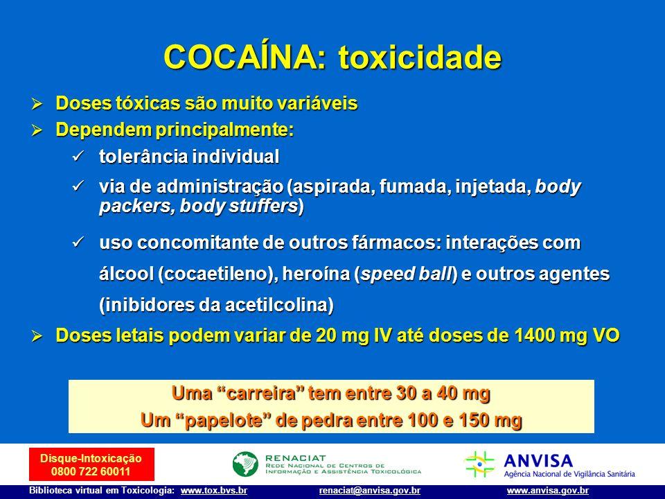 COCAÍNA: toxicidade Doses tóxicas são muito variáveis