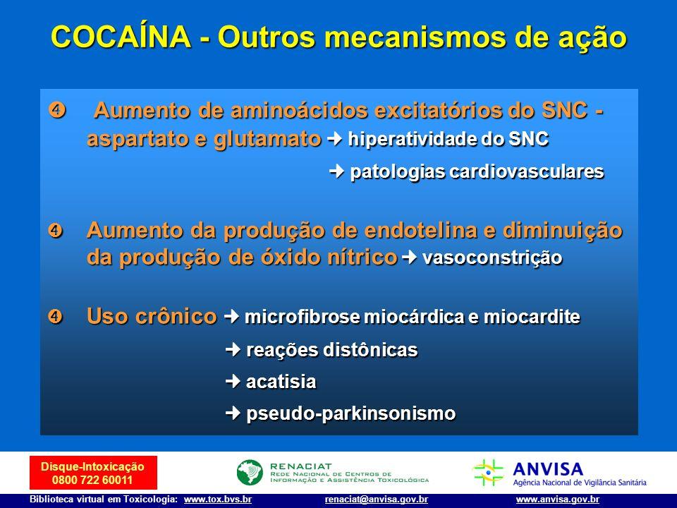 COCAÍNA - Outros mecanismos de ação