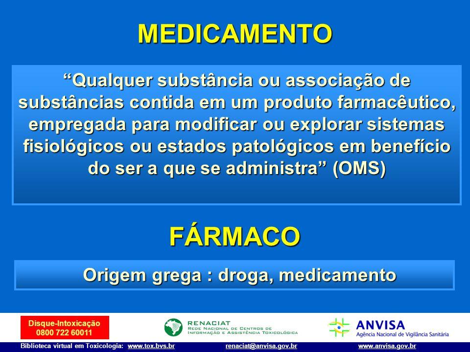 Origem grega : droga, medicamento