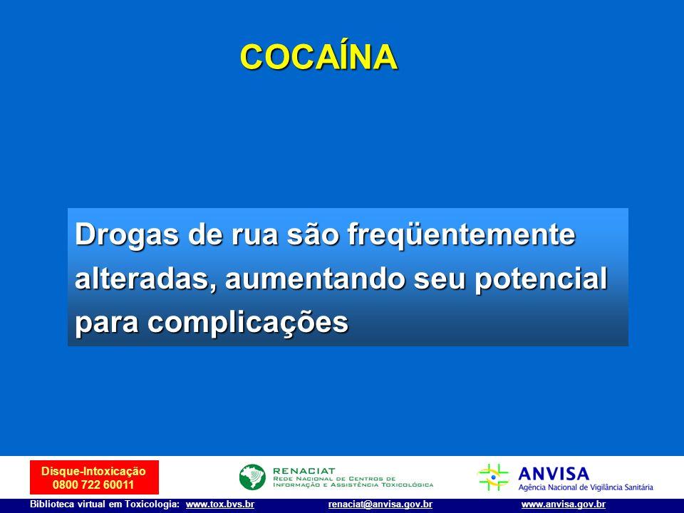 COCAÍNA Drogas de rua são freqüentemente alteradas, aumentando seu potencial para complicações