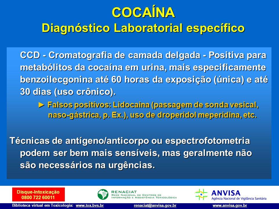 COCAÍNA Diagnóstico Laboratorial específico