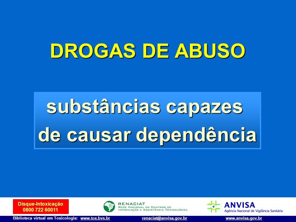 DROGAS DE ABUSO substâncias capazes de causar dependência