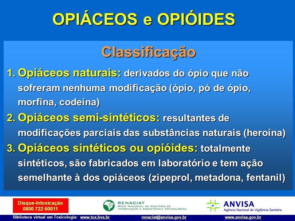 OPIÁCEOS e OPIÓIDES Classificação